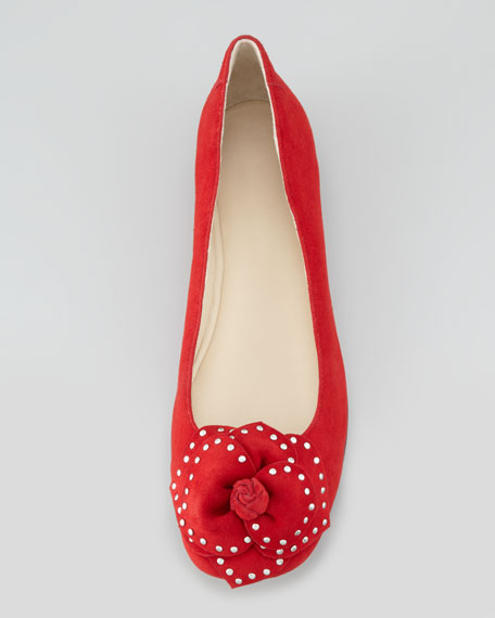 Babylon Studded Flower Ballerina Flat, Red