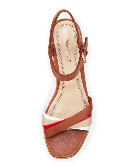 Reha Golden-Heel Sandal, Cognac/Red/Beige