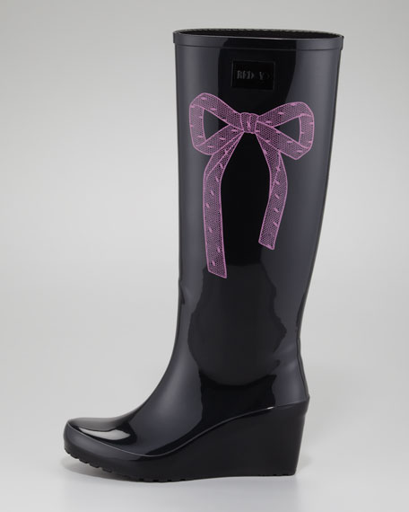Bow-Side Rubber Wedge Rain Boot