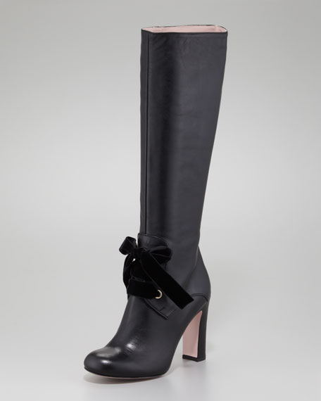 Leather Tie-Front Boot