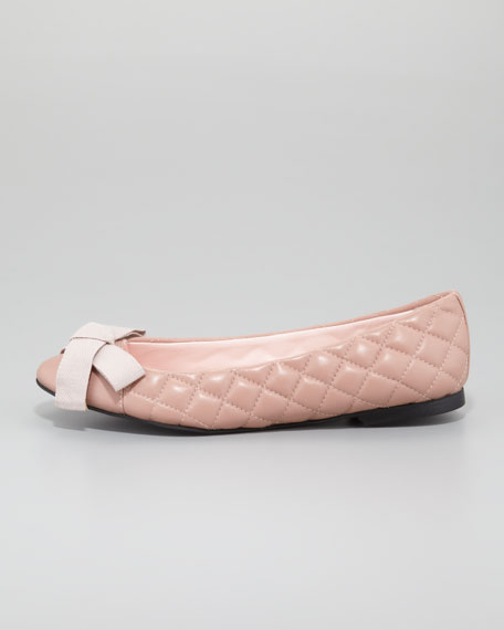 Quilted Bow-Top Ballerina Flat, Pink
