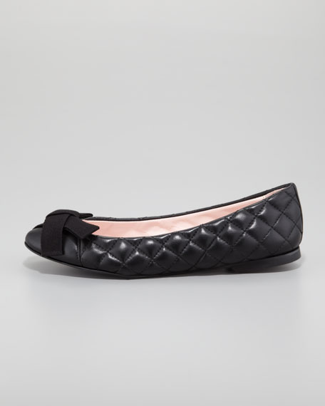 Quilted Bow-Top Ballerina Flat, Black