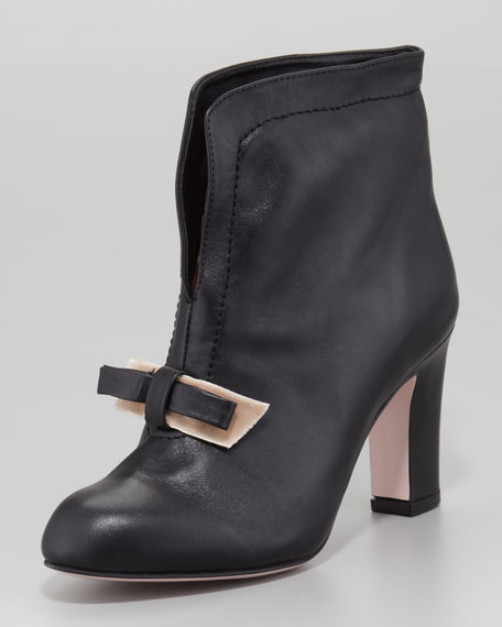 Split-Front Leather Bow Bootie, Black/Cameo