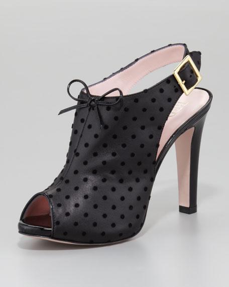 Flocked Peep-Toe Leather Bootie, Black
