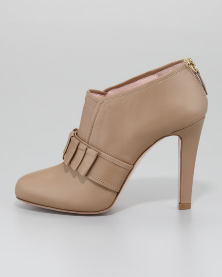 Bow-Front Leather Ankle Bootie, Taupe