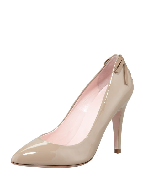 Patent Laced-Back Pump, Taupe