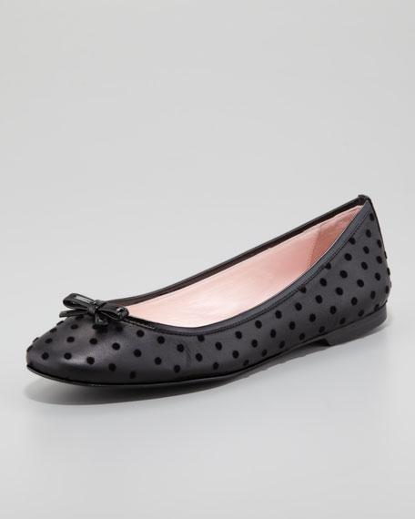 Flocked Ballerina Flat, Black
