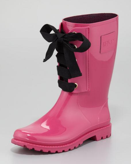 Short Lace-Up Rain Boot