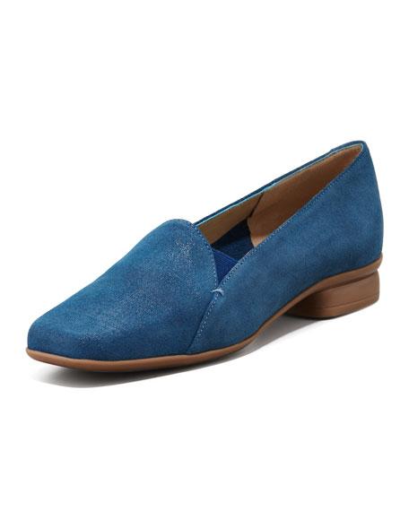 Ellen Slip-on Rubber-Sole Loafer, Blue