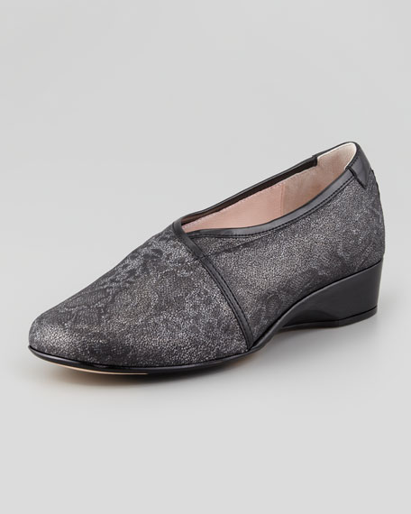Kelsey Snake-Print Envelope Wedge Loafer, Black/Gray