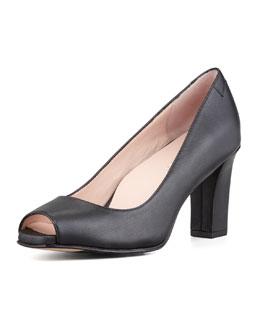 Taryn Rose Fierce Peep-Toe Mid-Heel Pump, Black