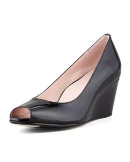 Taryn Rose Kimberly Patent Peep-Toe Wedge, Black