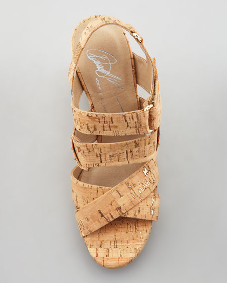 Gretel Cork Wedge Sandal, Gold/Natural