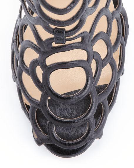 Gladia Leather Cage Bootie, Black