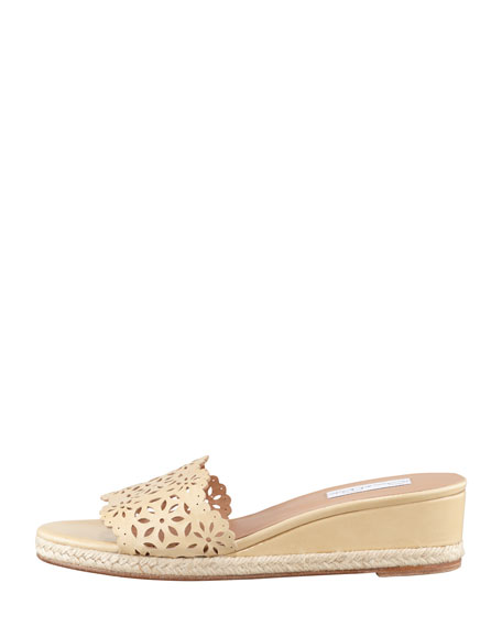 Laser-Cut Wedge Espadrille Slide, Beige