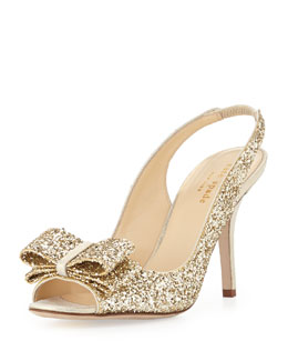kate spade new york charm glittered bow slingback, platinum