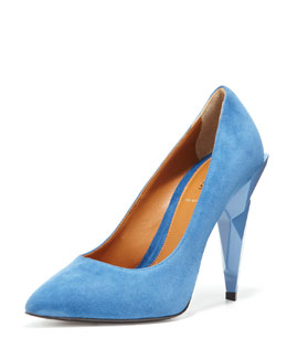Fendi Diamond Heel Pump, Navy