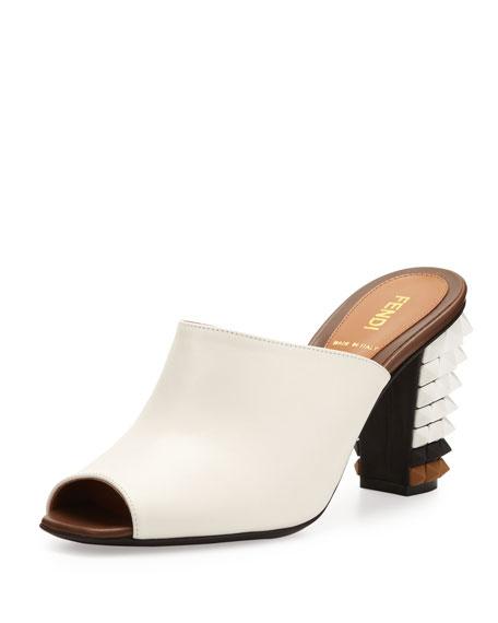 Leather Pyramid Stud-Heel Slide, White/Black