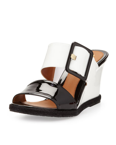 Patent Double-Strap Wedge Slide, Black/White