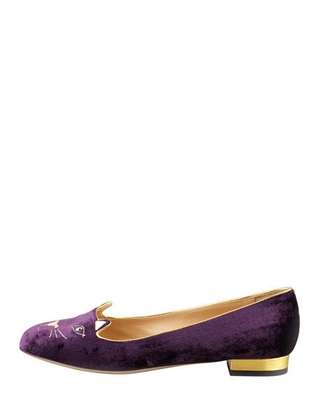 Kitty Crystal-Eye Velvet Cat Slipper, Purple