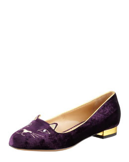 Charlotte Olympia Kitty Crystal-Eye Velvet Cat Slipper, Purple