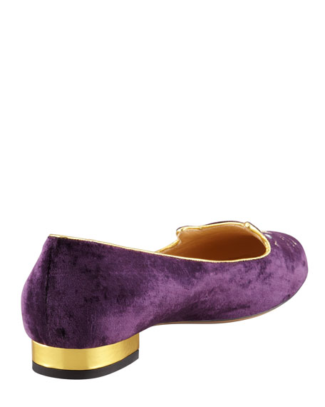 Kitty Crystal-Eye Velvet Cat Slipper, Purple