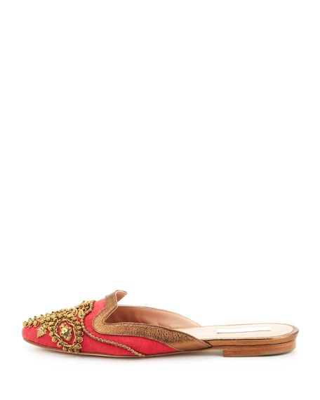 Spanish Sequin-Embellished Mule, Red/Gold