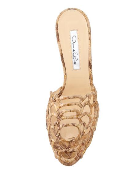 Snake-Printed Scalloped Cork Wedge Sandal, Natural