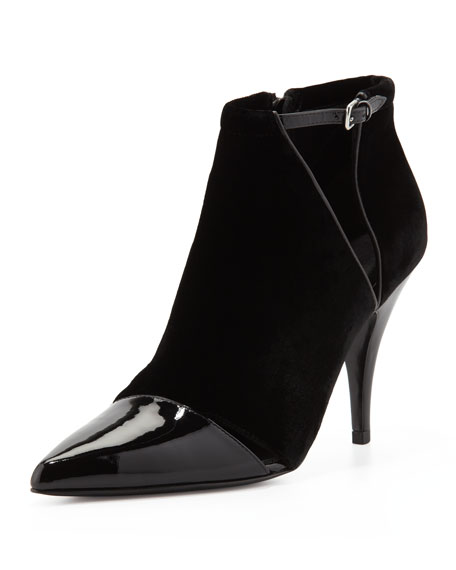 Quill Velvet & Patent Pointy-Toe Bootie