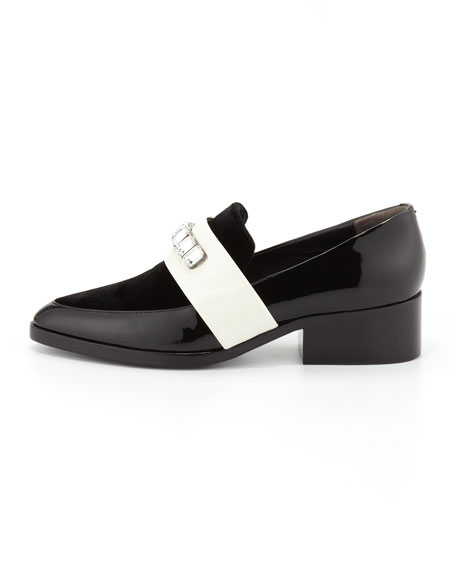 Quinn Embellished-Strap Pointy-Toe Loafer