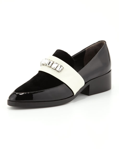 Quinn Embellished-Strap Pointy-Toe Loafer