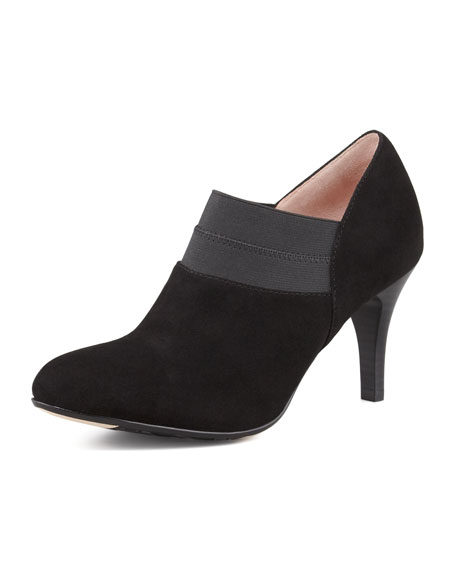 Thelma Suede Stretch Bootie, Black