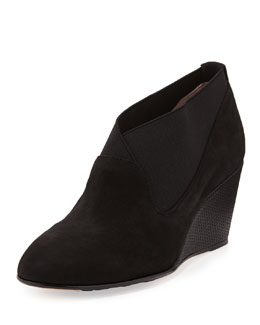Taryn Rose Keene Suede Wedge Bootie, Black