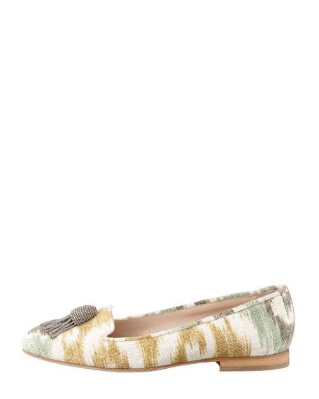 Ikat Beaded Tassel Ballerina Flats, Sage/Gray