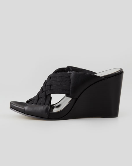 Gift Leather Wedge Sandal, Black
