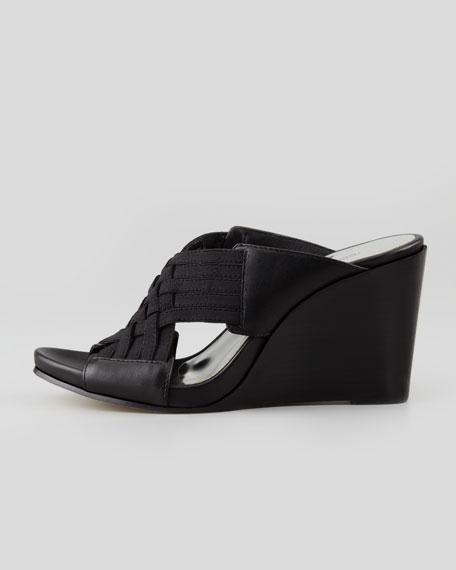 Gift Leather Wedge Sandal, Black