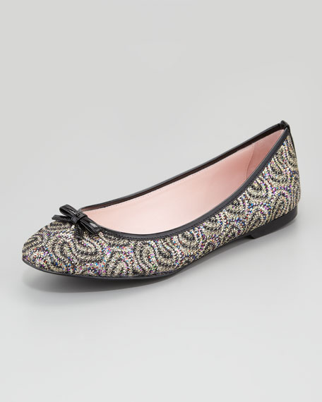 Glitter Patent-Bow Ballerina Flat