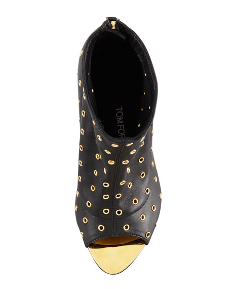 Peep-Toe Leather Eyelet Bootie