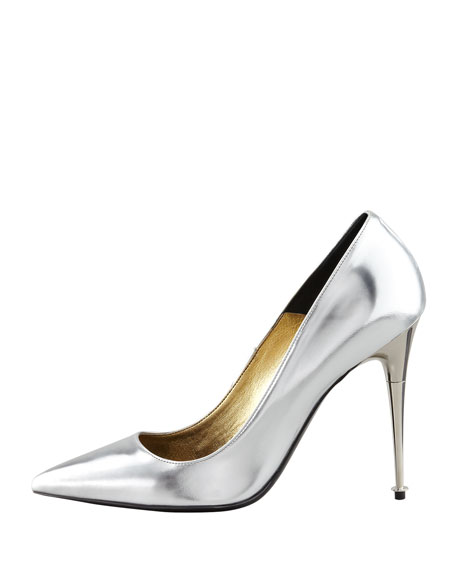 Mirror-Leather Pointy-Toe Pump