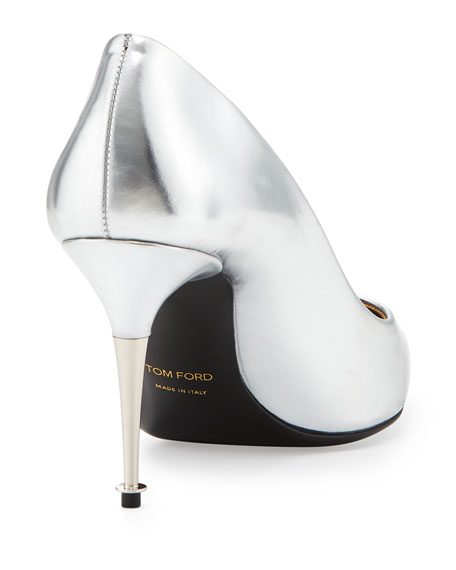 Low-Heel Pointed-Toe Metallic Pump, Silver