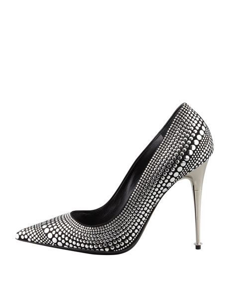 Studded Suede Pointy-Toe Pump