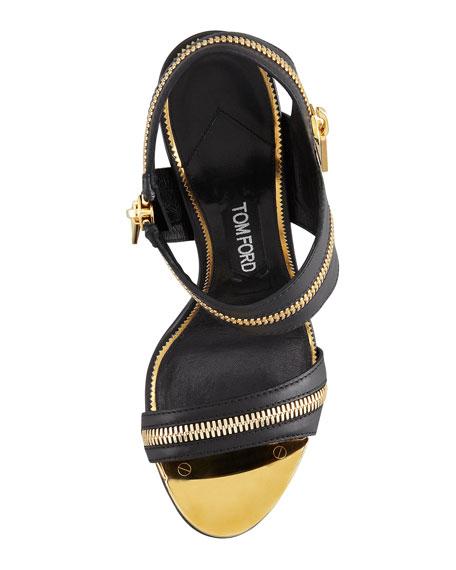 Metal-Heel Zipper Sandal