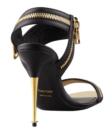 Metal-Heel Zipper Sandal