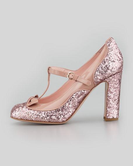 Mary Jane Patent & Glitter Pump, Cammeo