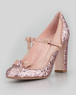 RED Valentino Mary Jane Patent & Glitter Pump, Cammeo