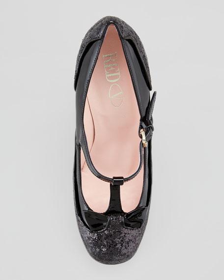 Mary Jane Patent & Glitter Pump, Black