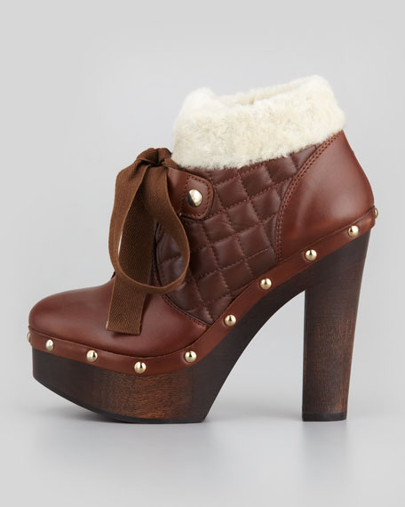 Quilted-Napa Fur-Collar Boot, Brown