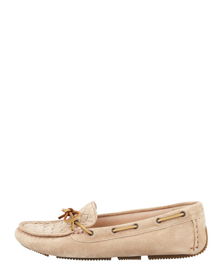 Suede Woven Driver, Sand