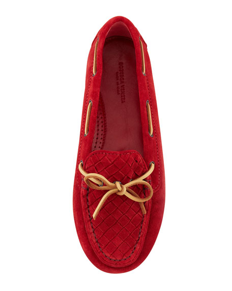 Suede Woven Driver, Red