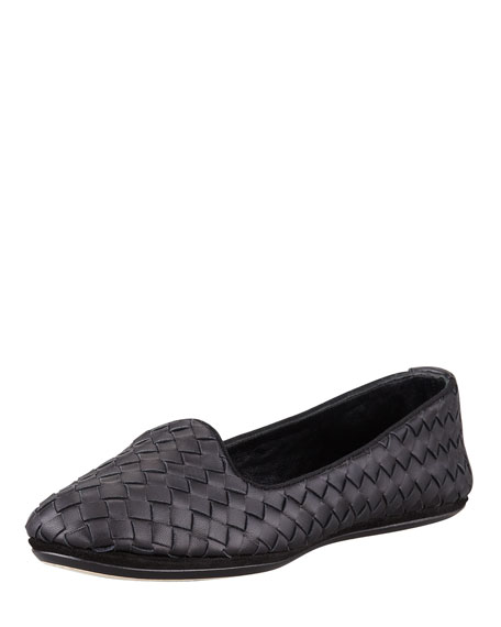 Bottega Veneta Napa Intrecciato Smoking Slipper, Black